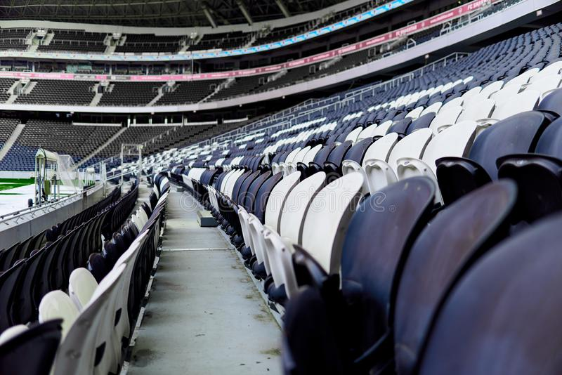 Seats in the stadium. Are arranged in rows stock photo