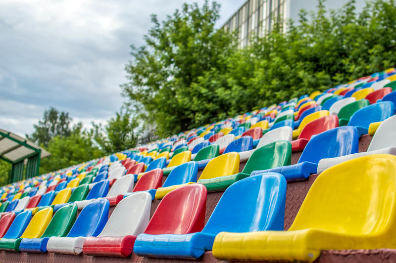 Seats in stadium stock photos