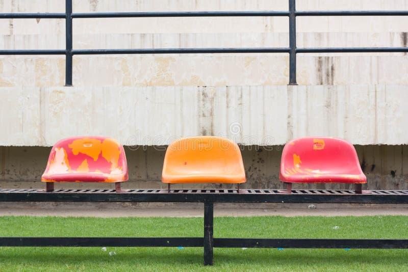 Seats at the stadium. Old Seats At The Stadium royalty free stock photos