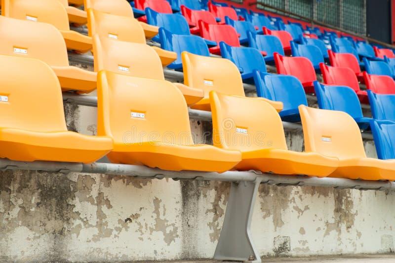 Seats in stadium. Rows of empty seats in stadium royalty free stock image