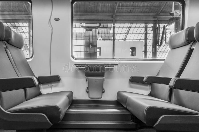 Seats in train royalty free stock photography