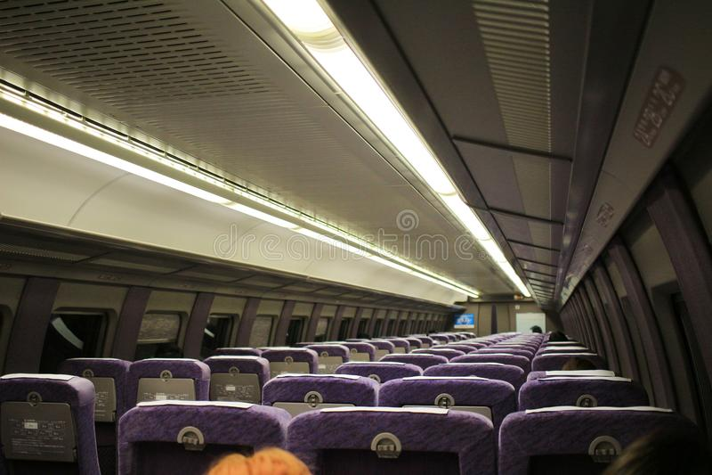 seats of 500 TYPE EVA Shinkansen train royalty free stock photos