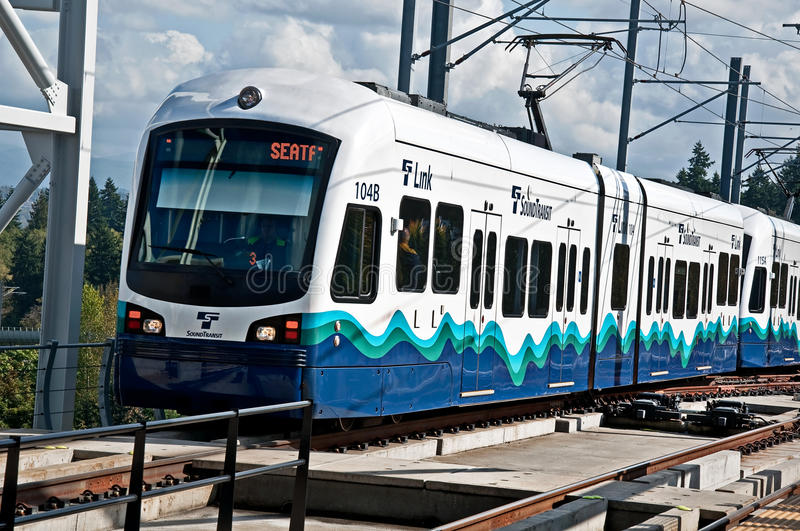 SEATTLE – Link Light Rail Transport 3rd Year. SEATTLE, WA – JULY 17: The Link Light Rail public transit celebrated it 3rd successful year, with plans to stock photo