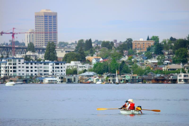 Seattle. Boating on Union Bay Lake, Seattle, USA stock image