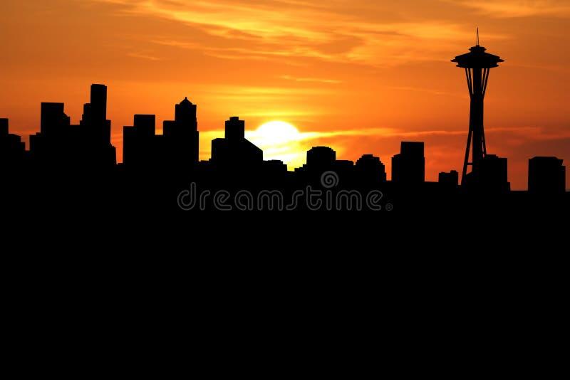 Seattle al tramonto illustrazione di stock