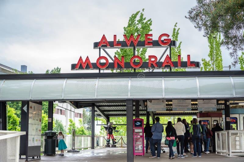 Seattle Centrum Jednoszynowa stacja obraz royalty free
