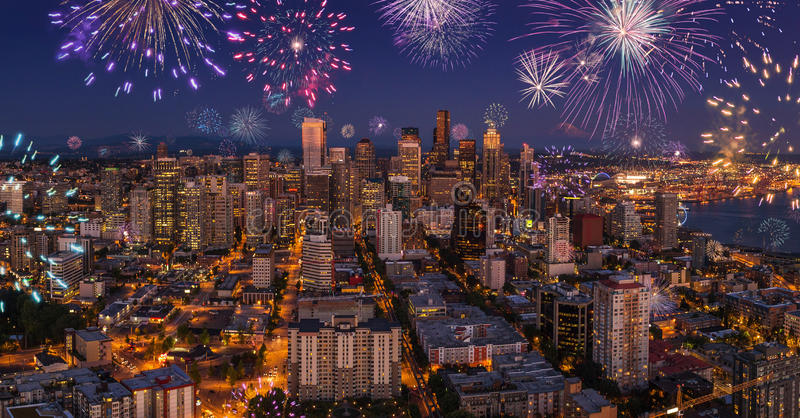 Seattle city nightlife fireworks celebrating new years eve, view from the Space Needle stock photo