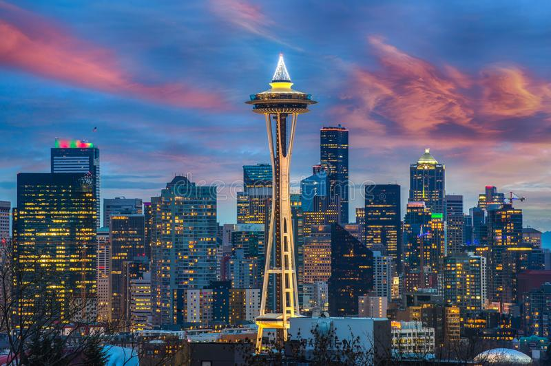 Seattle city skyline at dusk. Downtown Seattle cityscape. At night stock photos
