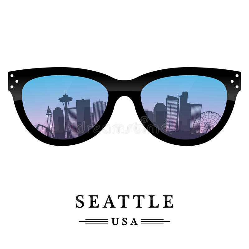 Seattle city skyline. Silhouette reflected in the glasses. Vector illustration royalty free illustration