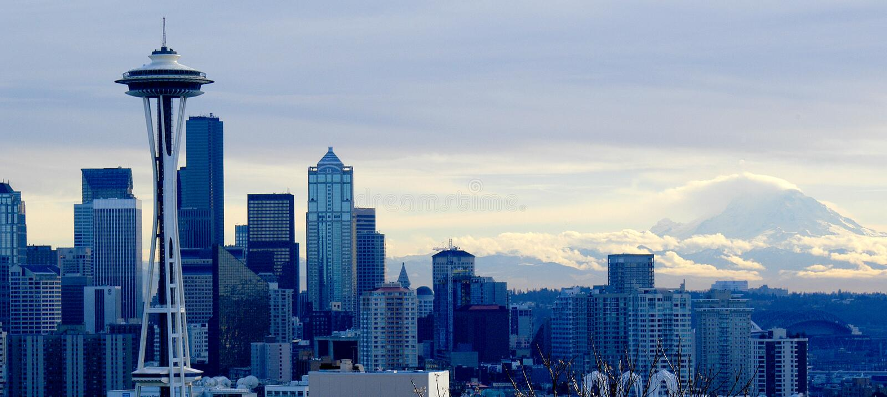 Seattle cityscape efter en vinters storm arkivfoto