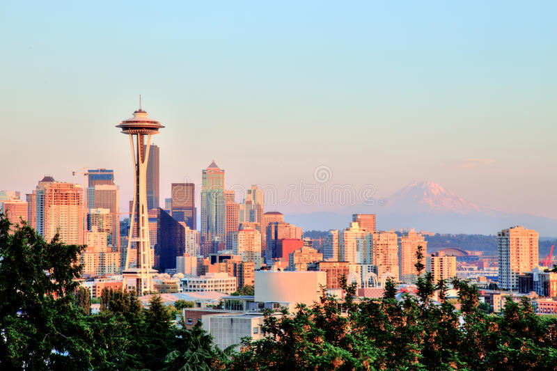 Seattle Cityscape with Mt. Rainier in the Background at Sunset, Washington stock images