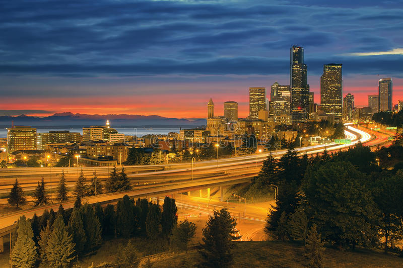Seattle Cityscape After Sunset stock images
