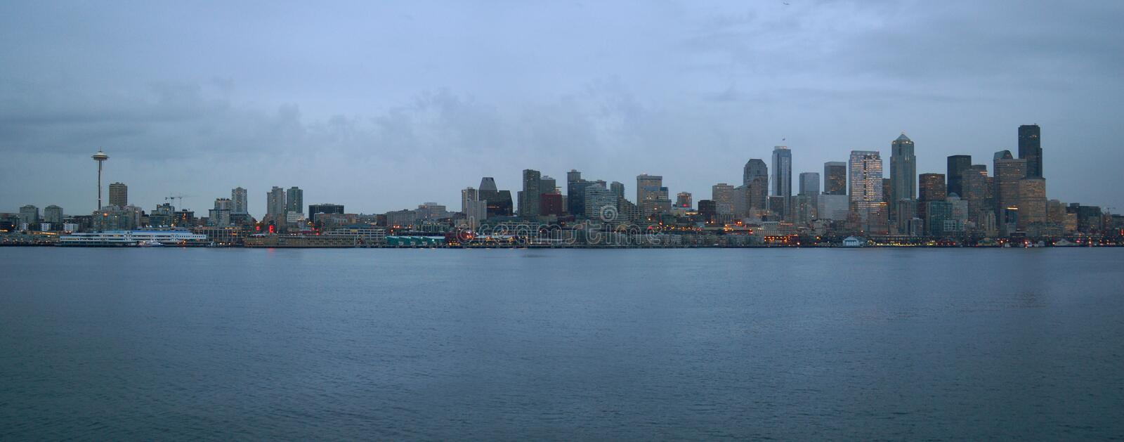 Seattle Coastline. The Seattle skyline taken at dust from the Ferry royalty free stock photos