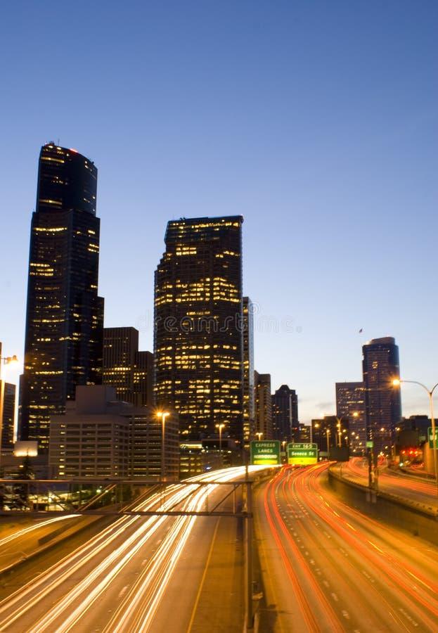 Seattle da baixa e tráfego imagens de stock royalty free