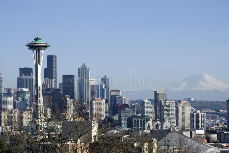 Skyline da cidade de Seattle fotos de stock royalty free