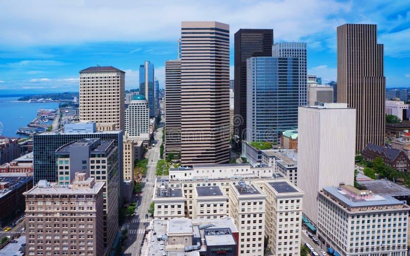 Seattle del centro da Smith Tower Luce intensa un giorno soleggiato immagine stock