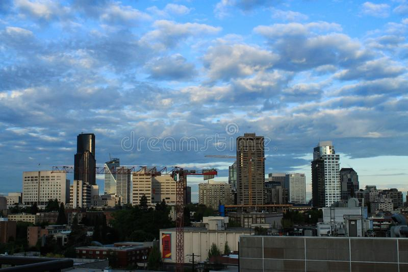Seattle Downtown with Cranes, City Scene construction royalty free stock photos