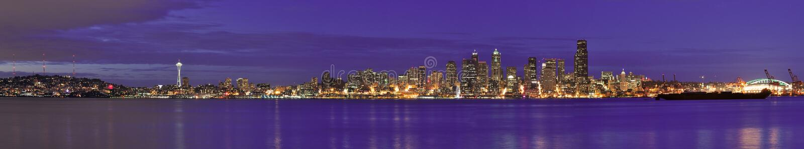 Seattle Downtown Panorama- city skyline at night time stock images