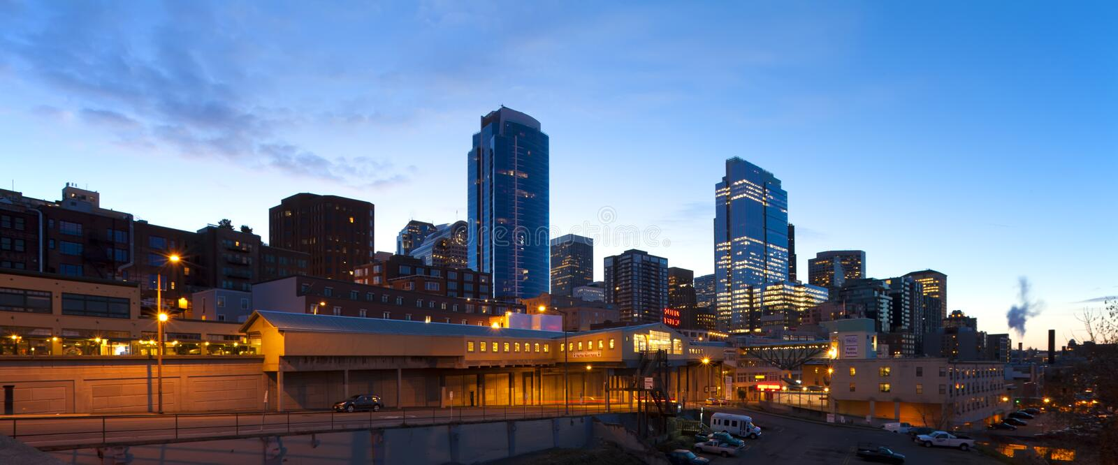 Seattle downtown, Pike Market at early morning before sunrise. stock images