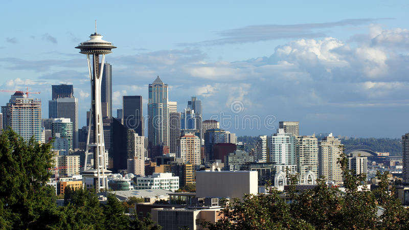 Seattle downtown skyline and Mt. Rainier, Washington royalty free stock photography