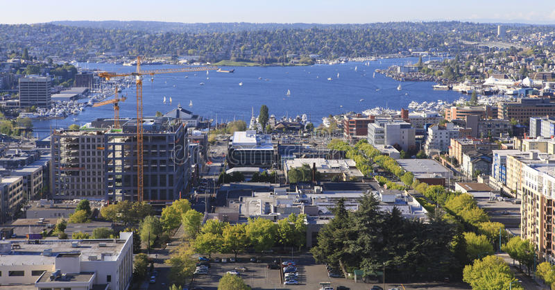 Seattle downtown, South Lake Union areal view from Virginia. stock image