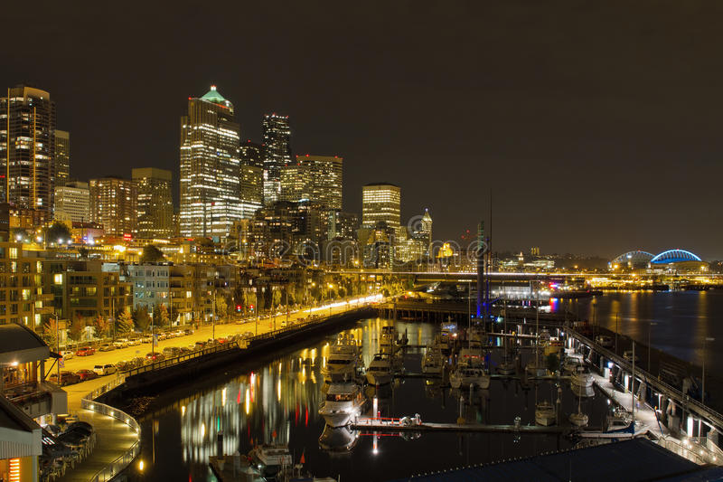 Seattle Downtown Waterfront Skyline Night. Seattle Washington Downtown Waterfront Skyline at Night Reflection royalty free stock photography