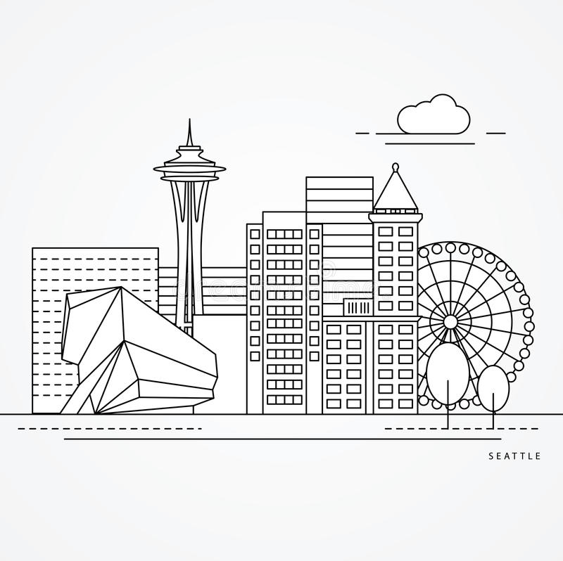 Seattle eine Linie Design lizenzfreie abbildung