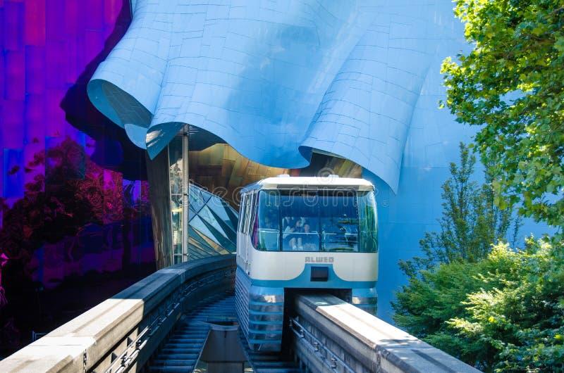 Seattle enskenig järnväg fotografering för bildbyråer