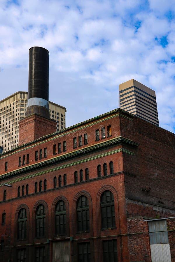 Seattle, Etats-Unis, le 31 août 2018 : Cheminée à la vapeur carrée pionnière images stock