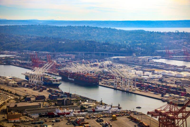Seattle, EUA, o 31 de agosto de 2018: O porto de Seattle, EUA imagem de stock royalty free