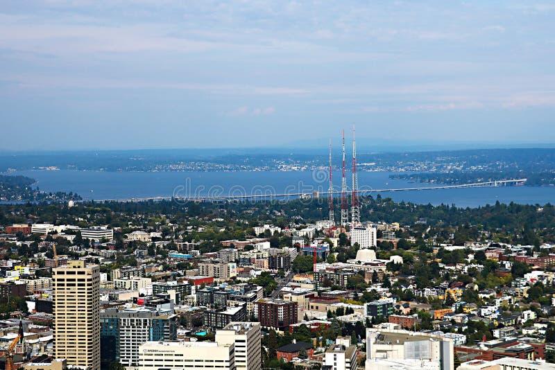 Seattle, EUA, o 30 de agosto de 2018: Vista aérea da cidade de Seattle fotos de stock royalty free