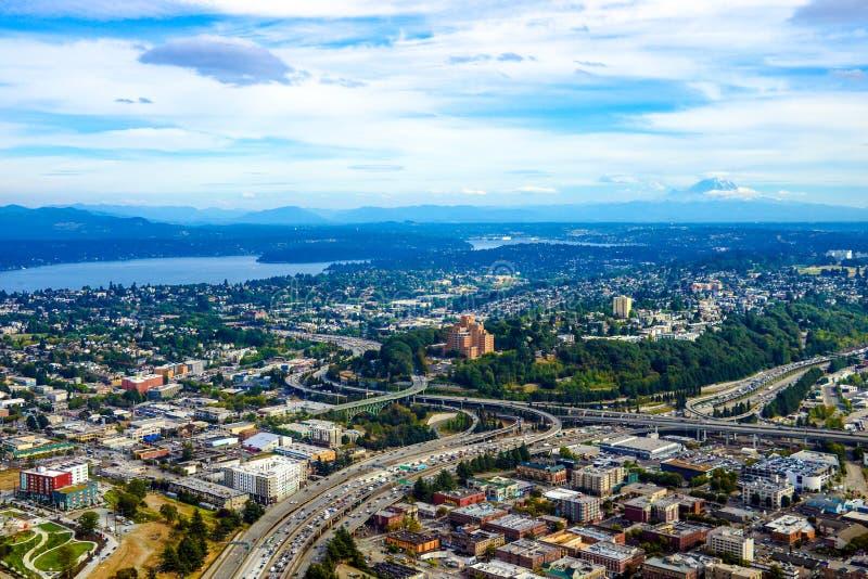 Seattle, EUA, o 31 de agosto de 2018: Vista de Seattle do centro imagem de stock royalty free