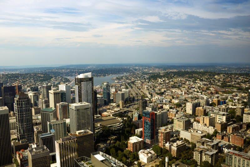 Seattle, EUA, o 31 de agosto de 2018: Vista panorâmica aérea da arquitetura da cidade de Seattle fotografia de stock