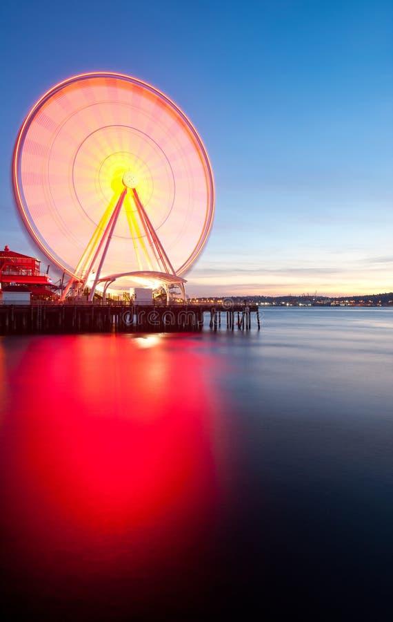 Seattle Ferris Wheel. Seattle's Great Wheel, a ferris wheel on the waterfront stock photos