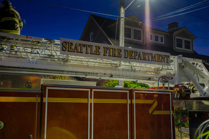 Seattle Fire Department at night. Night shot of Seattle fire truck under street light stock photography
