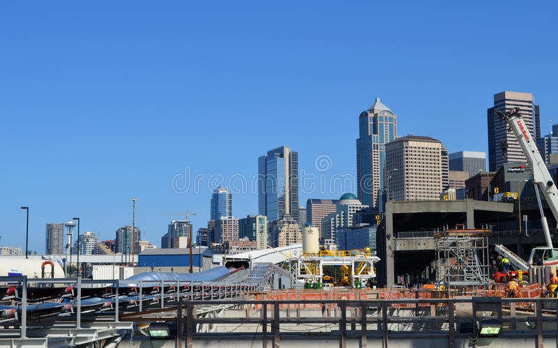 Seattle Fura Profundamente O Projeto Do Túnel Foto de Stock Editorial