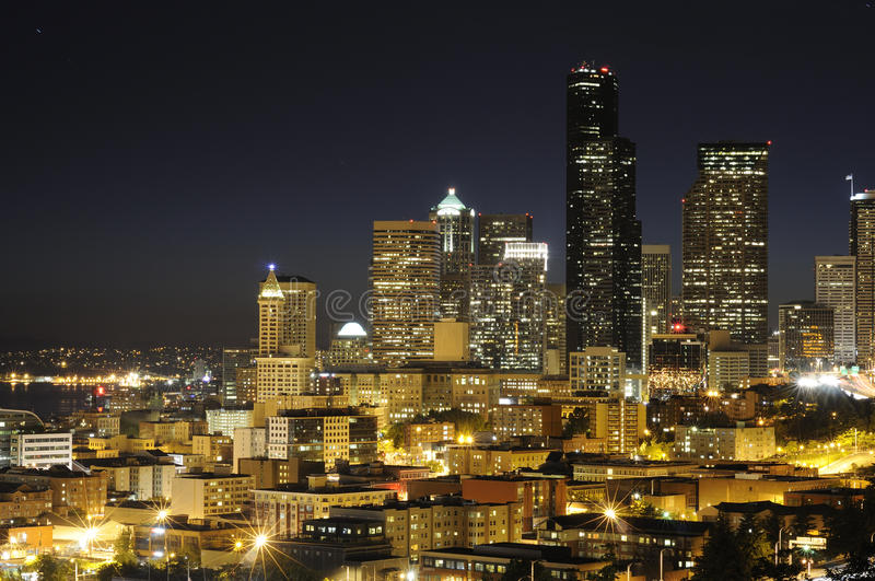 Seattle highrise. Seattle downton highrise at night royalty free stock photography