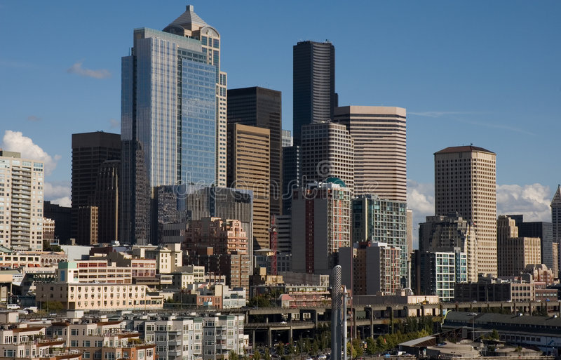 Seattle, horizonte de WA foto de archivo
