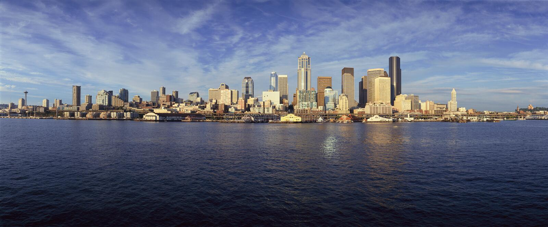 Seattle, horizonte de WA del transbordador de la isla de Bainbridge fotos de archivo