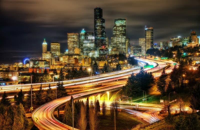 Seattle huvudvägsolnedgång arkivfoton