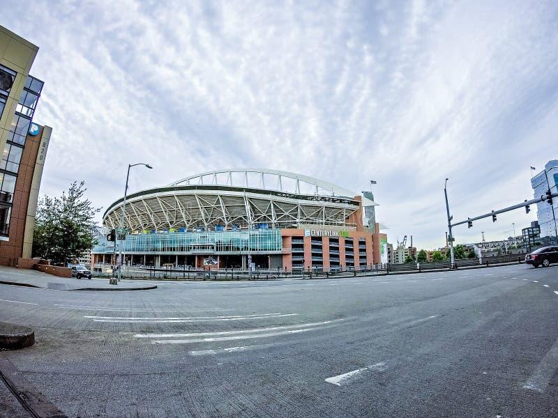 SEATTLE - JUNIO DE 2017: Estadio del campo de vínculo del siglo Hogar de Seattle imagenes de archivo