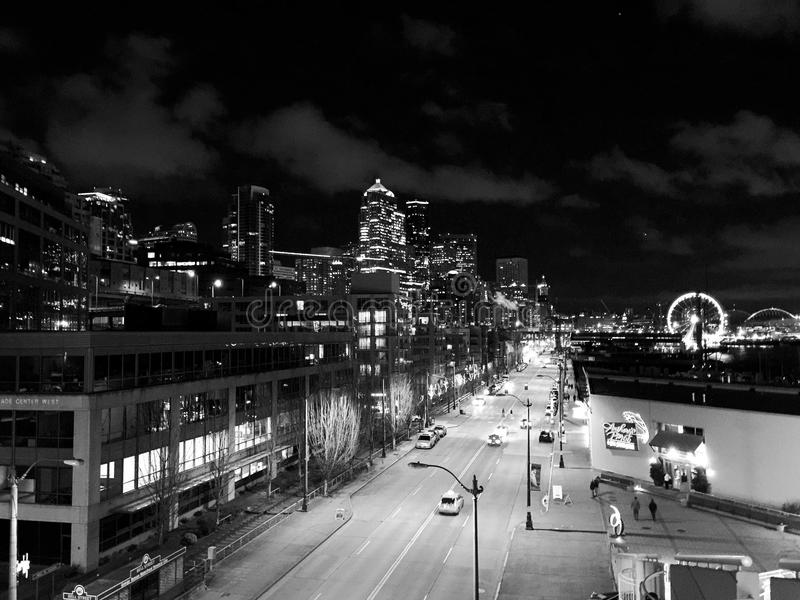 Seattle la nuit photographie stock