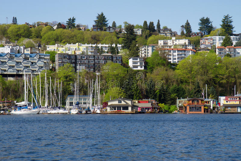 Seattle linia brzegowa z Houseboats fotografia stock