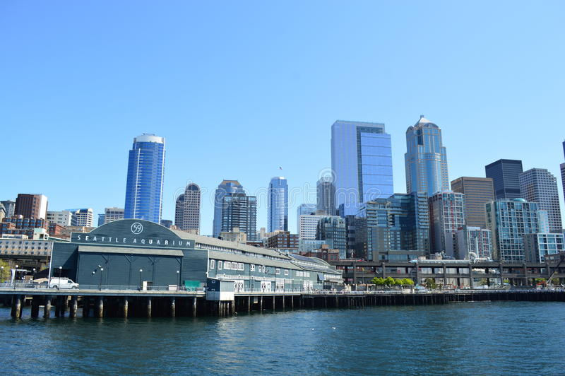 Seattle linia horyzontu i akwarium zdjęcia royalty free