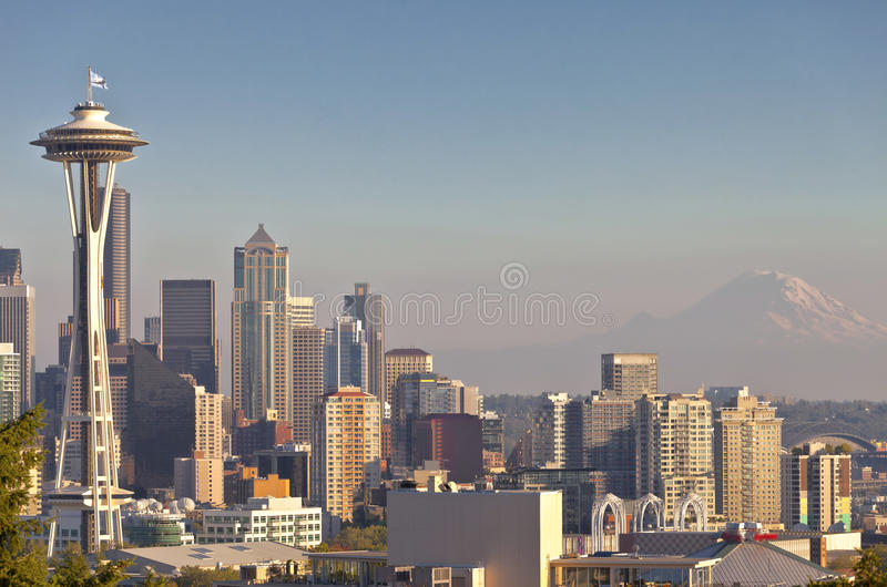 Seattle linii horyzontu w centrum stan washington obraz stock