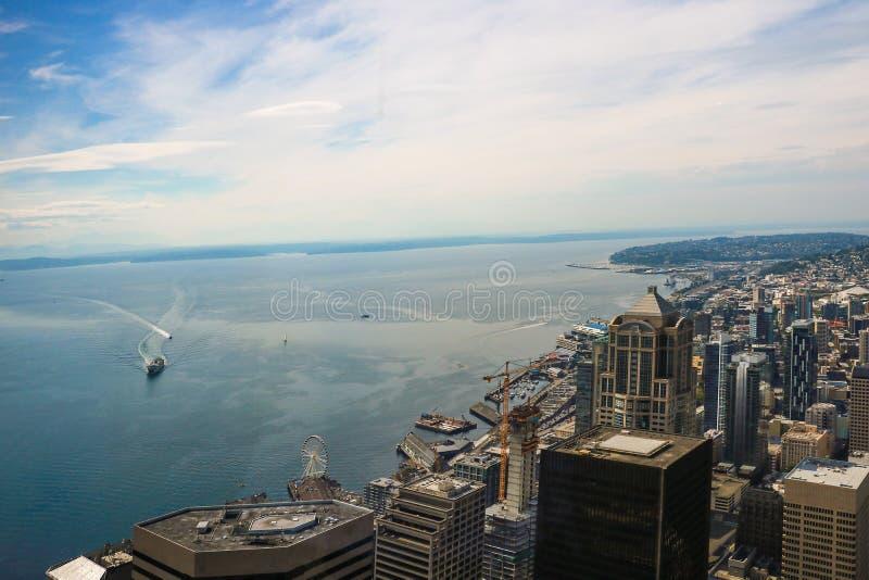 Seattle, los E.E.U.U., el 31 de agosto de 2018: En el centro de la ciudad Seattle vista foto de archivo libre de regalías