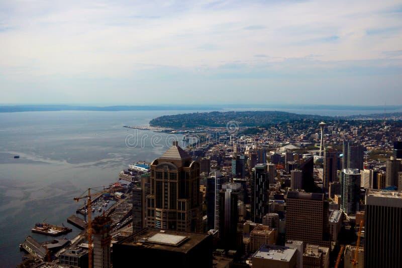 Seattle, los E.E.U.U., el 31 de agosto de 2018: En el centro de la ciudad Seattle vista fotos de archivo libres de regalías