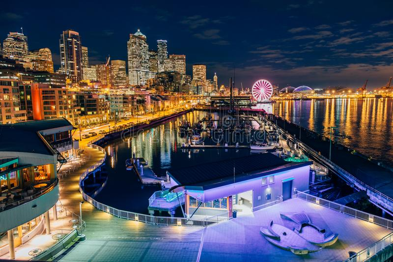 Seattle Marina by night. A panoramic view of Seattle Marina by night royalty free stock images