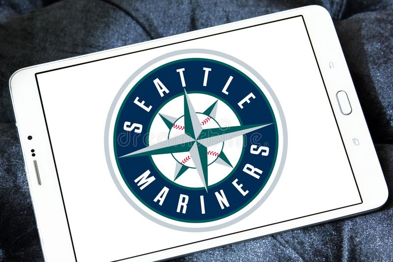 Seattle Mariners baseball Club logo. Logo of Seattle Mariners baseball Club on samsung tablet. The Seattle Mariners are an American professional baseball team royalty free stock photography