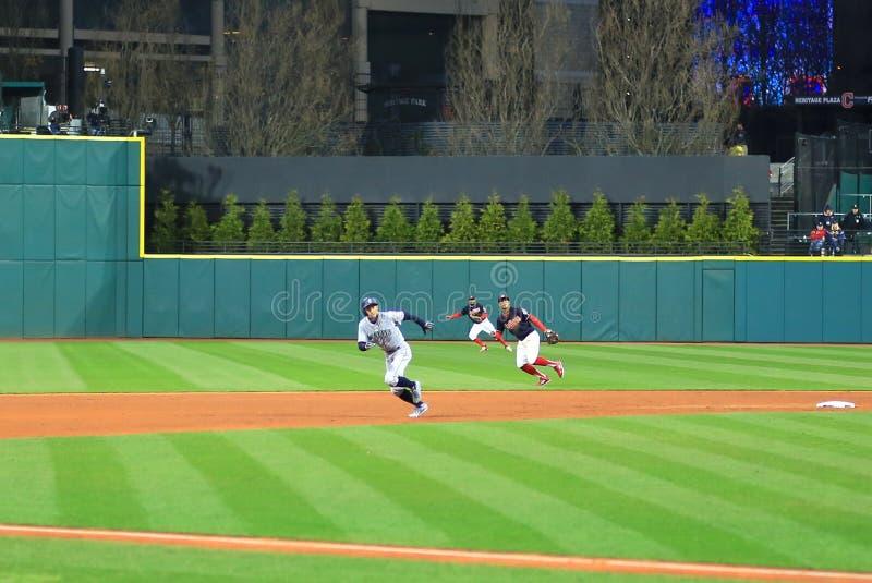 Ichiro Suzuki running the bases. Seattle Mariners Major League Baseball game at Progressive Field in Cleveland , Ohio, USA stock images